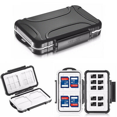 Neewer 14 Slots Black Memory Card Case  Waterproof Holder Storage Box Portable