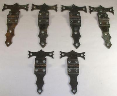 Antique Bronze Fancy Door Trunk Box Hinges Patent Dated 1867 4 Large & 2 Small