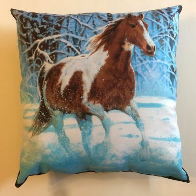 Complete New Beautiful Brown & White Horse Running In Snow 15X15 Throw Pillow -R