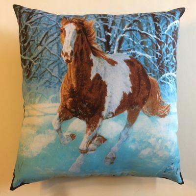 New Beautiful Brown & White Horse Running In Snow Complete 15X15 Throw Pillow -L