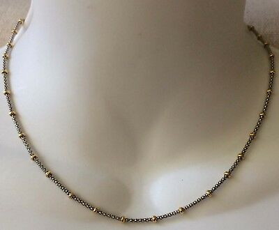 18k 18 K 750 Italy Solid White & Yellow Gold Chain Necklace Scrap or Wear 6.5 gr