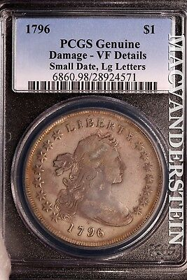1796 Early Dollar-Pcgs Genuine!! Damage, Small Date, Large Letters!! #sl6822