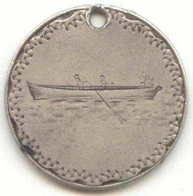 1883 Seated Liberty Dime Love Token, Pictorial, 4 Men in a Rowboat