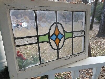 V871A Very Pretty Older Leaded Stained Glass Window From England