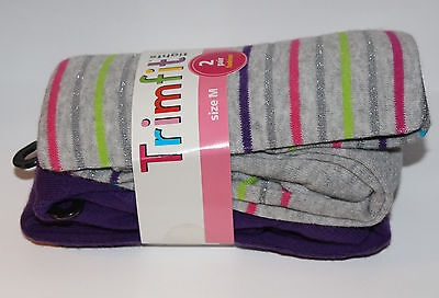 New Trimfit Girls Tights 2 Pair M (7-10) Solid Purple-Gray Multi-color Stripes