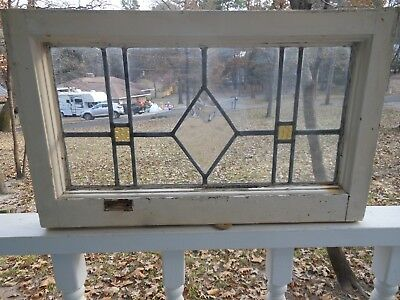 V664B Lovely Older Transom Style Leaded Stained Glass Window From England
