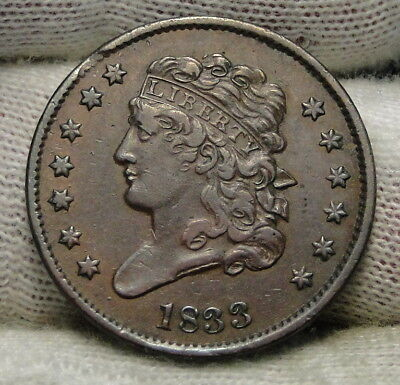 1833 Classic Head Half Cent - Nice Coin - Rare, Only 103,000 Minted (6502)