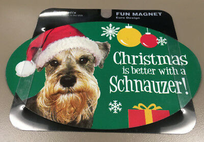 Christmas is better with a SCHNAUZER - OVAL MAGNET,Dog Cat Pet Rescue Charity