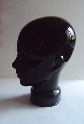 Black Glass Head Bust ~ Hat Display Mannequin