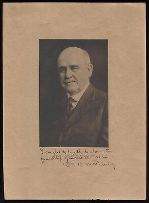 William B. McKinley (d. 1926) Signed Photograph Autographed Early US Senator