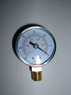 "50Mm Bottom Entry 1/4""bspt Dry Vacuum Pressure Gauge 0To -1 Bar Brass Dual Scale"