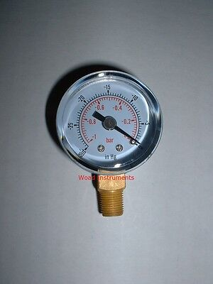 """40Mm Bottom Entry 1/8""""bspt Dry Vacuum Pressure Gauge 0 To-1 Bar Brass Dual Scale"""