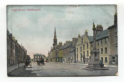 Haddington High Street - 1906 used East Lothian postcard
