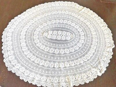 Gorgeous Round Vintage Handmade Crochet Net Lace Tablecloth White 66""