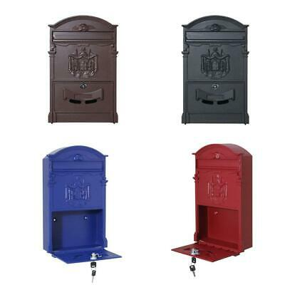 Durable Hot Vintage Retro Cast Iron Wall Mount Letter Mailbox Safe Box Key Lock