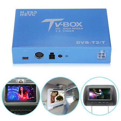 HD DVB-T DVB-T2 Car Mobile Digital TV Box H.265 Receiver Dual Antenna Tuner Set