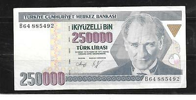 Turkey #211 1998 Very Good Circulated 250000 Lira Banknote Paper Money Currency