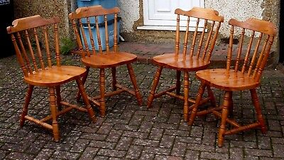 Set of 4 Solid Pine Traditional Rustic Farmhouse Style Stick Back Dining Chairs