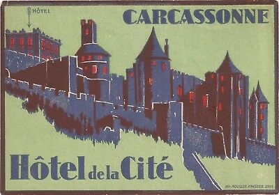 HOTEL CITE luggage DECO label (CARCASSONNE)