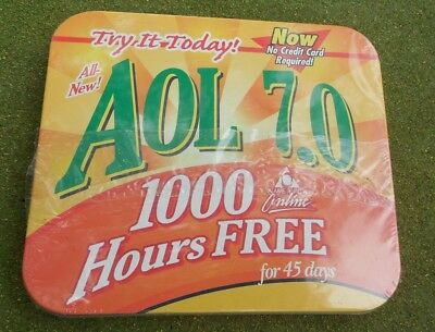 Vintage AOL 7.0 CD Startup Tins Collectible Advertising Promo Never Opened