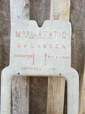 Antique Art Deco Cast Aluminum Mobil Oil Gas Co. Wall Art Tire Balancer LAST ONE