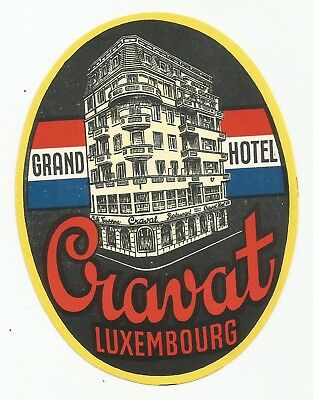 GRAND HOTEL CRAVAT luggage DECO label (LUXEMBOURG)