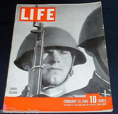 February 12, 1945 LIFE Magazine COMPLETE 50s ads WWII War, FREE SHIPPING Feb 2