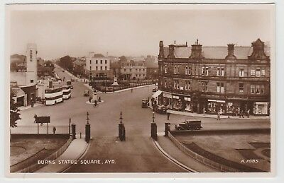 Cinema, Buses, Shopfronts, Burns Statue Square, Ayr, in 1938 Real Photo PPC, VG