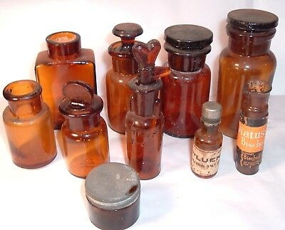 Lot #3 Antique Rx Pharmacy Medical Apothecary Bottles unusual HEART stopper