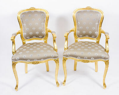 Superb Bespoke Pair French Louis Revival Giltwood Armchairs