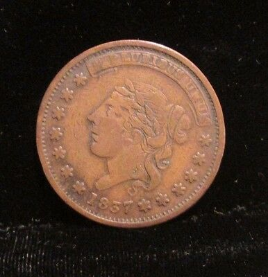 Antique 1837 Hard Times Token Coin Millions for Defense Not One Cent