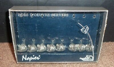 Vintage Napier Hors D'oeuvres Mice Mouse Cocktail Servers Set Of 8 Brand NEW NIB