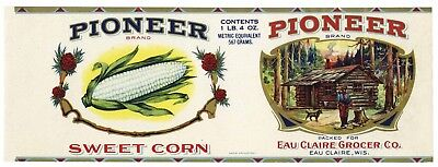 PIONEER Brand, Eau Claire, WI *AN ORIGINAL 1920's TIN CAN LABEL* Calvert Litho