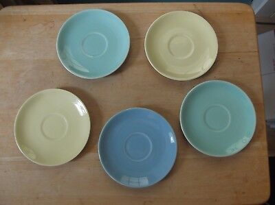 Five Vintage T. S. & T. Lu-Ray Pastels Pottery Saucers