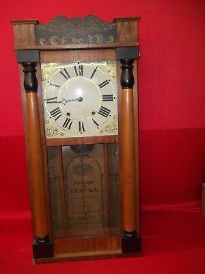 1825-1830 Large Antique  George Mitchell Wood Wooden Works Weight Clock