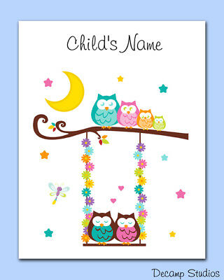 Woodland Animals Nursery Print Owl Tree Swing Wall Art Baby Girl Personalized