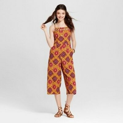 NEW Women's Lattice-Front Jumpsuit - Xhilaration (Juniors') Gold M
