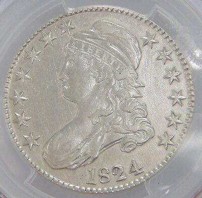 PCGS AU Details 1824 Capped Bust Half Dollar -- Bright Coin SEE PICS 6692