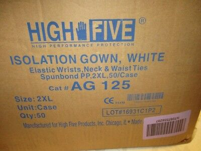 High Five Isolation Gowns Box of 50 Size 2XL, elastic wrist, neck and waist ties