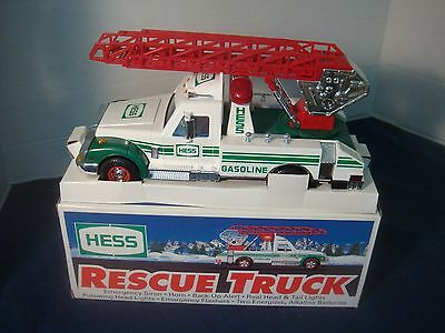 1994 Hess Rescue Truck~Siren~Horn~Lights~& More! Original Box Never Played With~