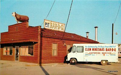 1960s Clem Mikesha's Barbecue Temple Texas Truck Hawkins postcard 10442