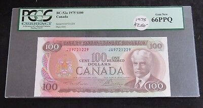 1975 Canada $100.00 Note BC-52a PCGS GEM New 66PPQ