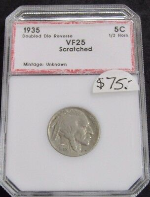 1935 Buffalo Nickel Double Die Reverse VF Scratched