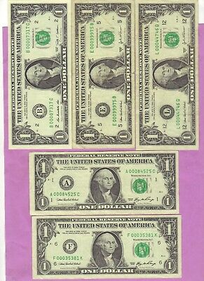 $1 X 5  Low Serial Numbers     Different Years And Districts