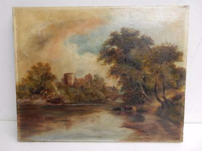 really old PAINTING oil LANDSCAPE cattle river castle
