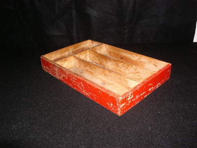 Vintage RED Wood Primitive Farmhouse Divided Utensil Tray Shadow Box