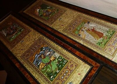 ANTIQUE Royal Indian Mughal Painted Silk Picture Panel Scrolls Chinoiserie Birds