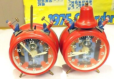 Pair Of 1960'S Jerger Busy Boy Bell Alarm Clocks Made In Germany ~Sold As-Is~