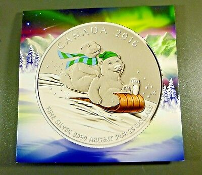 2016 Canada $25 for $25 Winter Fun Colorized 9999 Fine Silver Coin w/COA