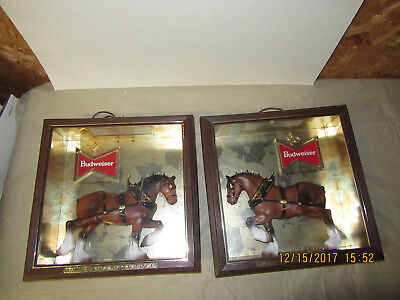 Vintage Pair Budweiser Beer Clydesdale Horse Lighted Sign Display Light USA